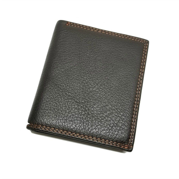 Mini-Wallet Vertical Style with Zippered Compartment Bi-Fold wallet WALLETERAS Mocha