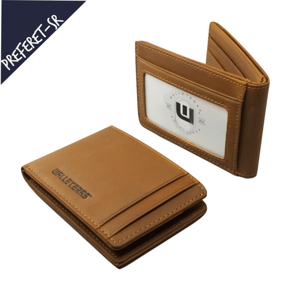 RFID High Capacity Bifold in Crazy Horse Leather / Dark Brown - Preferet RFID Blocking Bi-Fold wallet WALLETERAS Camel SR