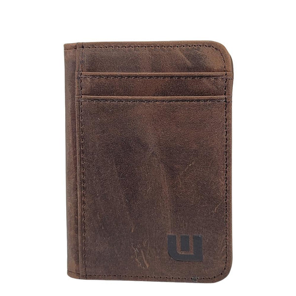 WALLETERAS Slim Bifold Front Pocket Wallet with ID Window - S/ID RFID BiFold Front Pocket Wallet WALLETERAS S/ID Coffee Crazy Horse Leather