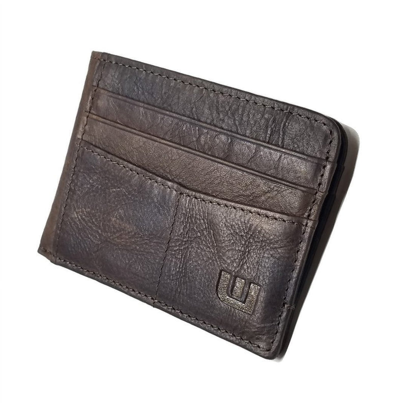 RFID Front Pocket Wallet with ID Window - Espresso Cash RFID Credit Card Holder WALLETERAS Coffee Non RFID Crazy Horse Leather Yes