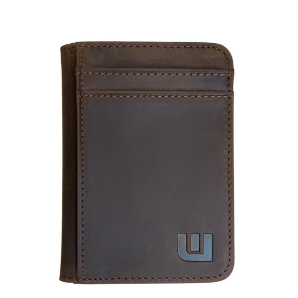 WALLETERAS - 2 ID Slim Leather Wallet with RFID Blocking - S 2ID Front Pocket Wallet WALLETERAS Coffee CHL