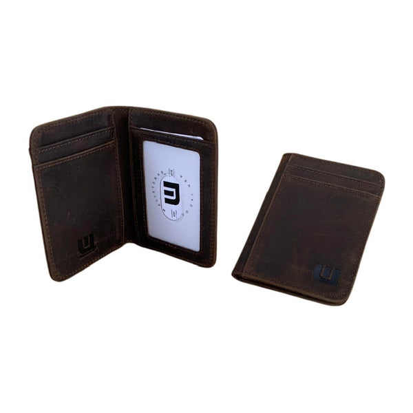 WALLETERAS - 2 ID Slim Leather Wallet with RFID Blocking - S 2ID Front Pocket Wallet WALLETERAS