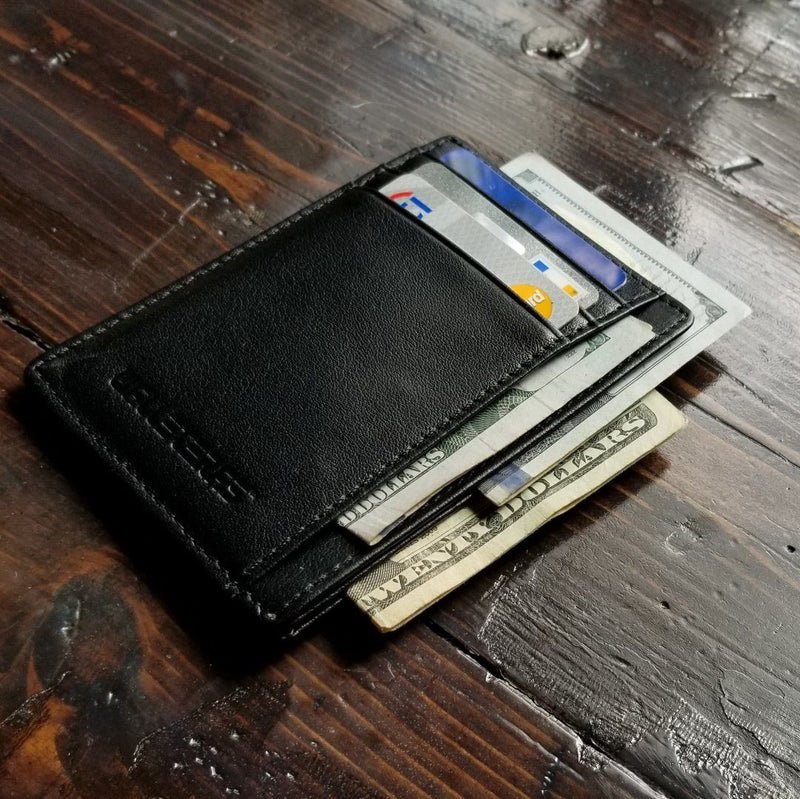 RFID Front Pocket Wallet and Card Holder with ID Window - DEC RFID BiFold Front Pocket Wallet WALLETERAS Black T