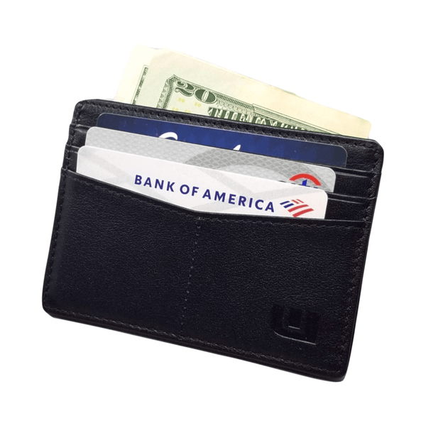 "RFID Front Pocket Wallet / Card Holder with ID Window - Espresso ""Plus"" Credit Card Holders WALLETERAS Black"