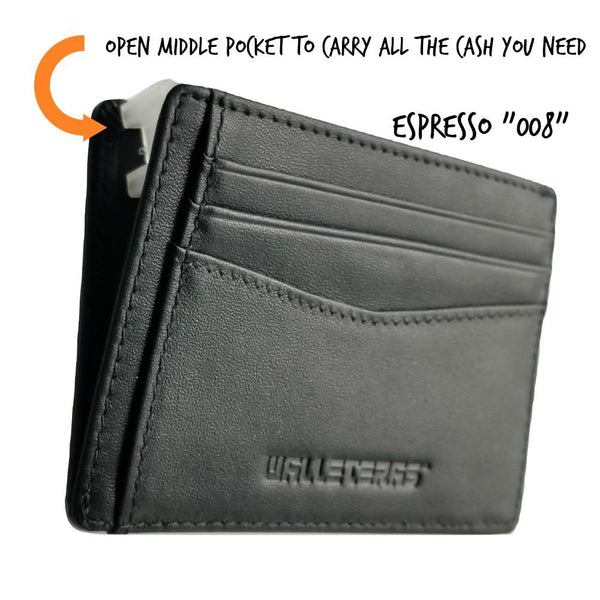 RFID Front Pocket Wallet and Card Holder - Otto RFID Credit Card Holder WALLETERAS Black 008 - Open