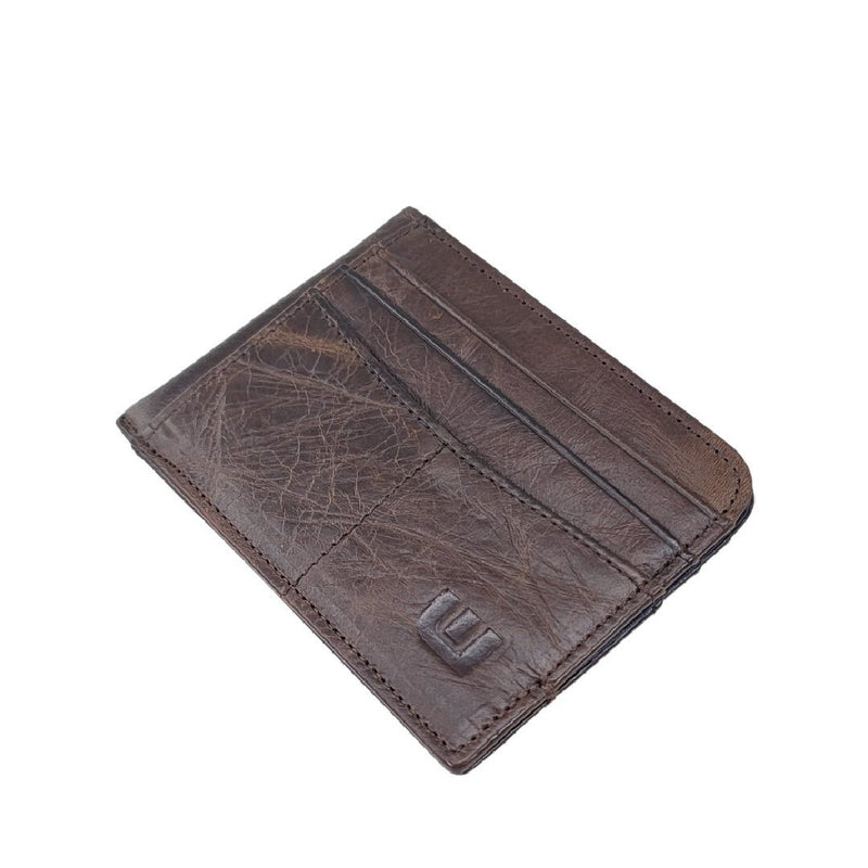 RFID Front Pocket Wallet with ID Window - Espresso Cash RFID Credit Card Holder WALLETERAS Coffee - Style 2 Oil Waxed