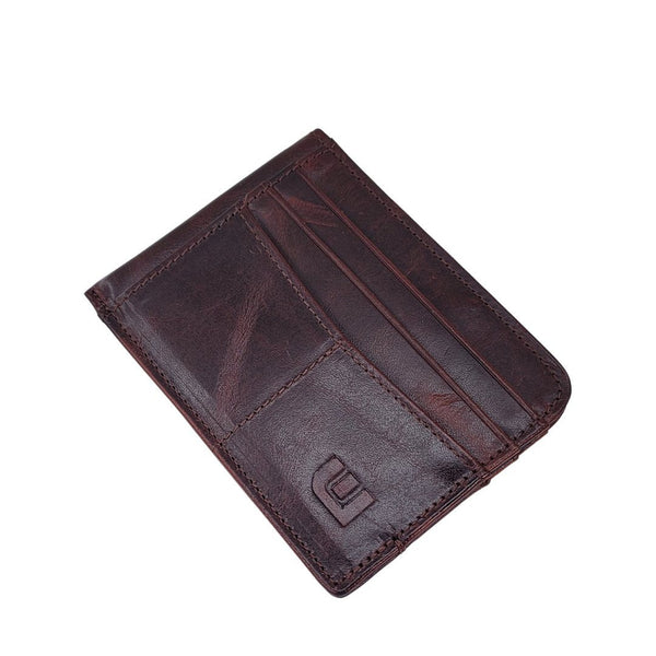 RFID Front Pocket Wallet with ID Window - Espresso Cash RFID Credit Card Holder WALLETERAS Wine Red - Style 2 Oil Waxed