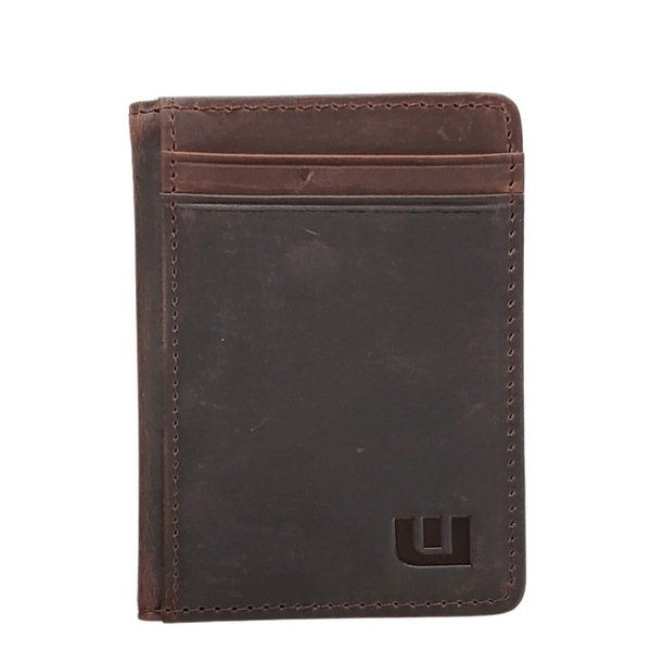Front Pocket Wallet with RFID in Crazy Horse Leather - Double Espresso Front Pocket Wallet WALLETERAS S Coffee Crazy Horse