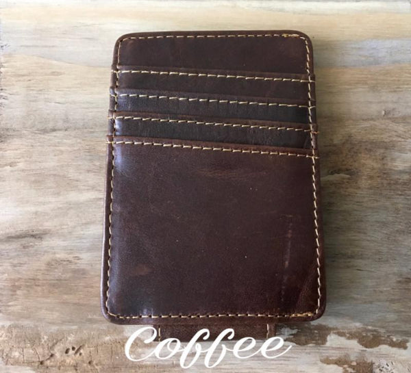 Vintage Look Crazy Horse Leather Money Clip with A Side Pocket Money Clip Walleteras Coffee