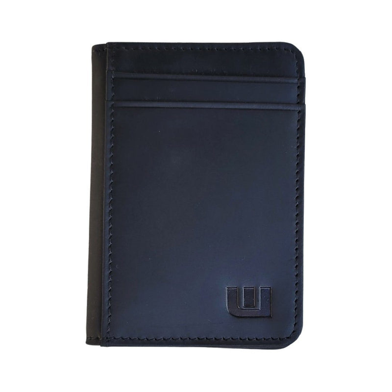 Front Pocket Wallet with RFID Protection and ID Window - S1 RFID BiFold Front Pocket Wallet WALLETERAS Crazy Horse Leather Black