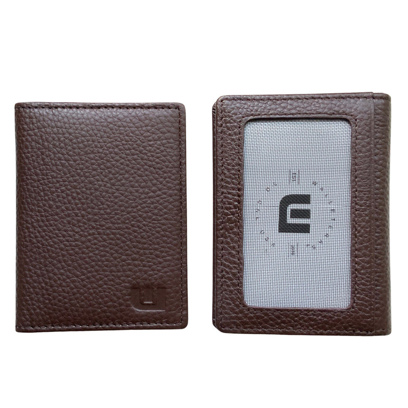 WALLETERAS Bifold Front Pocket Wallet With RFID Blocking - Americano Front Pocket Wallet WALLETERAS Mocha 2 - Outside ID