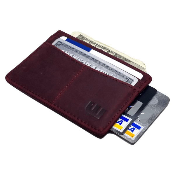 "RFID Minimalist Front Pocket Wallet / Credit Card Holder with ID Window - Espresso ""M"" RFID Credit Card Holder WALLETERAS Wine Red M"