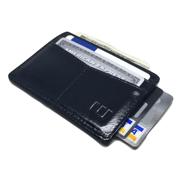 "RFID Minimalist Front Pocket Wallet / Credit Card Holder with ID Window - Espresso ""M"" RFID Credit Card Holder WALLETERAS Black - Waxed M"