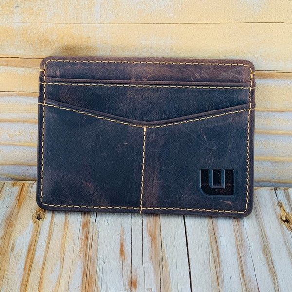 Minimalist ID Leather Wallet - Espresso H Credit Card Holders WALLETERAS Dark Coffee