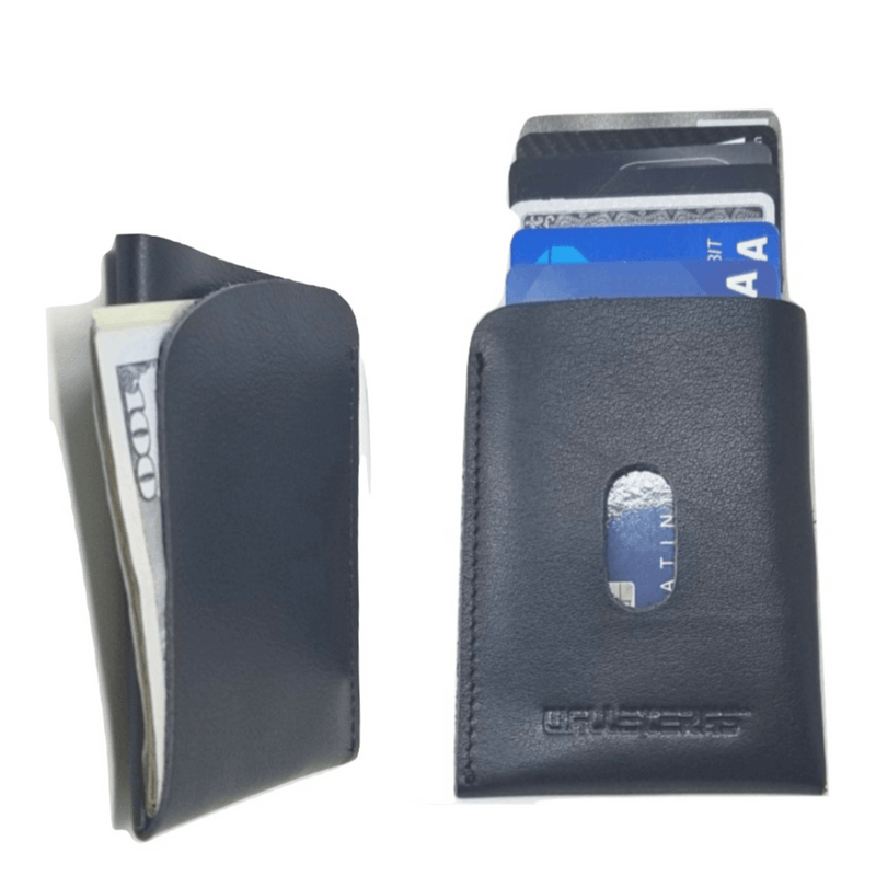 Minimalist Card Holder in Black Leather - POKET Credit Card Holders WALLETERAS