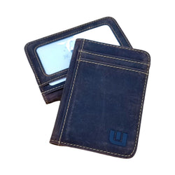 2 ID Front Pocket Leather Wallet - S2 Front Pocket Wallet WALLETERAS Crazy Horse Leather Coffee