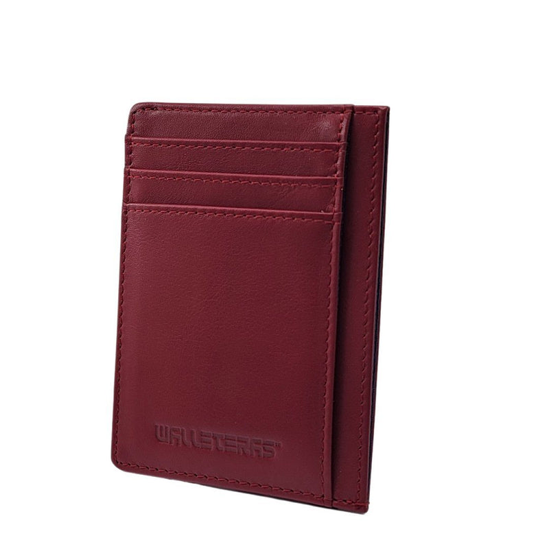 RFID Front Pocket Wallet and Card Holder with ID Window - DEC RFID BiFold Front Pocket Wallet WALLETERAS Burgundy T Calfskin