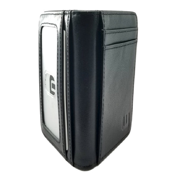 Card Holder with RFID and ID Window - S/ID RFID BiFold Front Pocket Wallet WALLETERAS S/ID Black Top Grain
