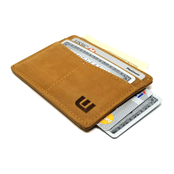 "RFID Minimalist Front Pocket Wallet / Credit Card Holder with ID Window - Espresso ""M"" RFID Credit Card Holder WALLETERAS Light Brown M"
