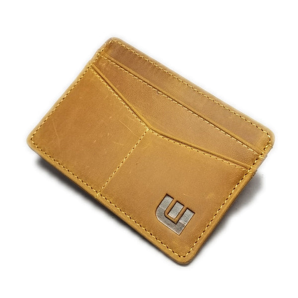 Minimalist ID Leather Wallet - Espresso H Credit Card Holders WALLETERAS Camel