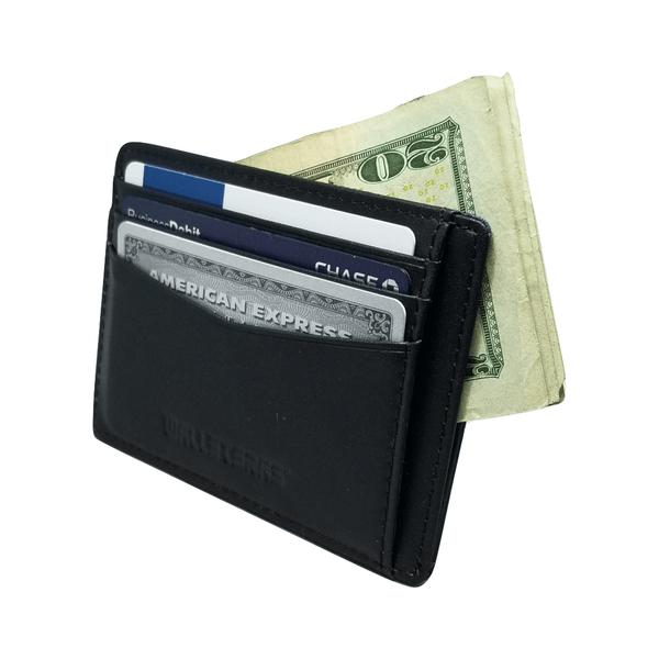 RFID Front Pocket Wallet and Card Holder - Otto RFID Credit Card Holder WALLETERAS Black - Open