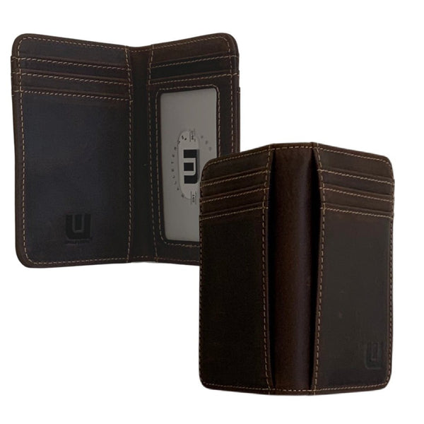 Front Pocket Leather Wallet w/ID - HT3 WALLETERAS Coffee RFID