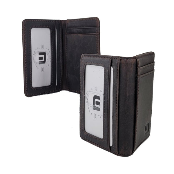 2 ID Front Pocket Leather Wallet - S2-E Front Pocket Wallet Brown  WALLETERAS