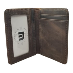 Front Pocket Wallet with RFID Protection and ID Window - S1 RFID BiFold Front Pocket Wallet WALLETERAS Crazy Horse Leather Coffee