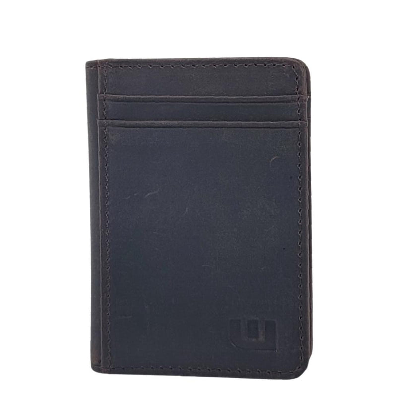 2 ID Front Pocket Leather Wallet - S2-E Front Pocket Wallet WALLETERAS Crazy Horse Leather Dark Coffee
