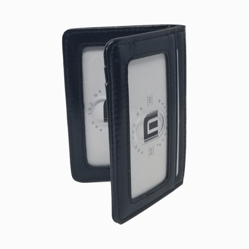 Small Pocket Wallet in Black Waxed Leather Black - WALLETERAS