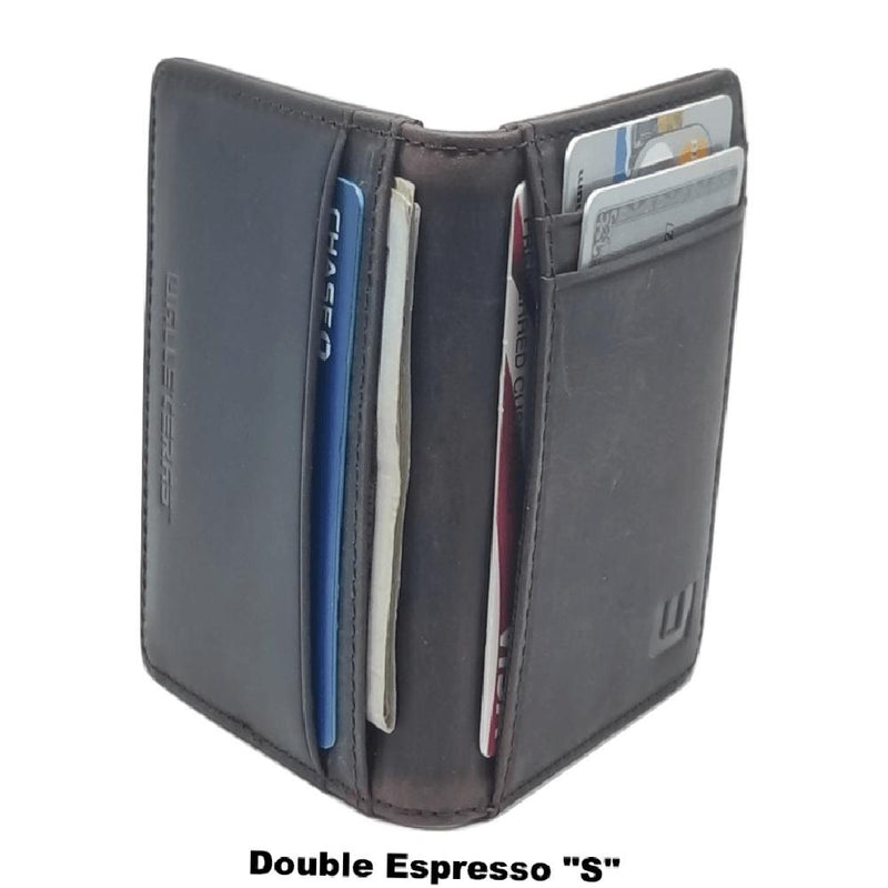 Front Pocket Wallet with RFID in Crazy Horse Leather - Double Espresso Front Pocket Wallet WALLETERAS