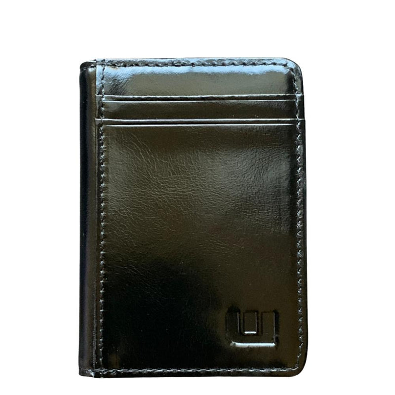 2 ID Front Pocket Leather Wallet - S2-E Front Pocket Wallet WALLETERAS Waxed Leather Black waxed