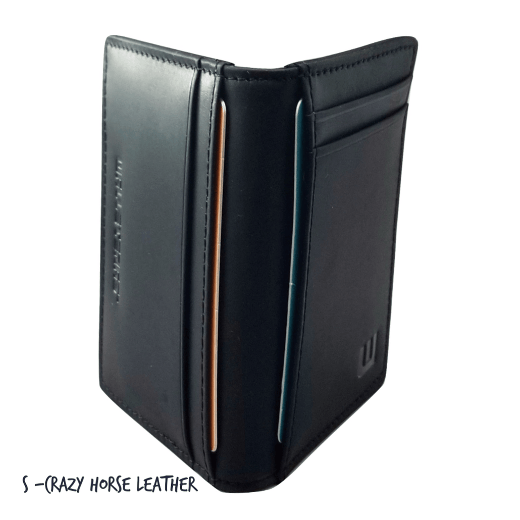 Front Pocket Wallet with RFID in Crazy Horse Leather - Double Espresso S