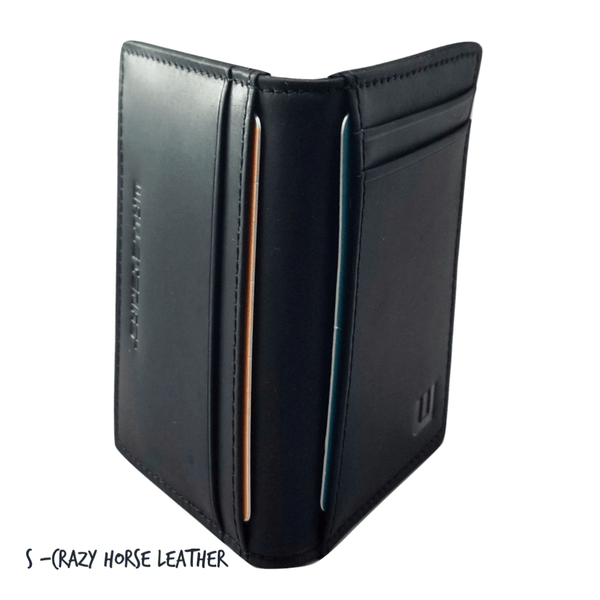 Front Pocket Wallet with RFID in Crazy Horse Leather - Double Espresso RFID BiFold Front Pocket Wallet WALLETERAS S Black Crazy Horse