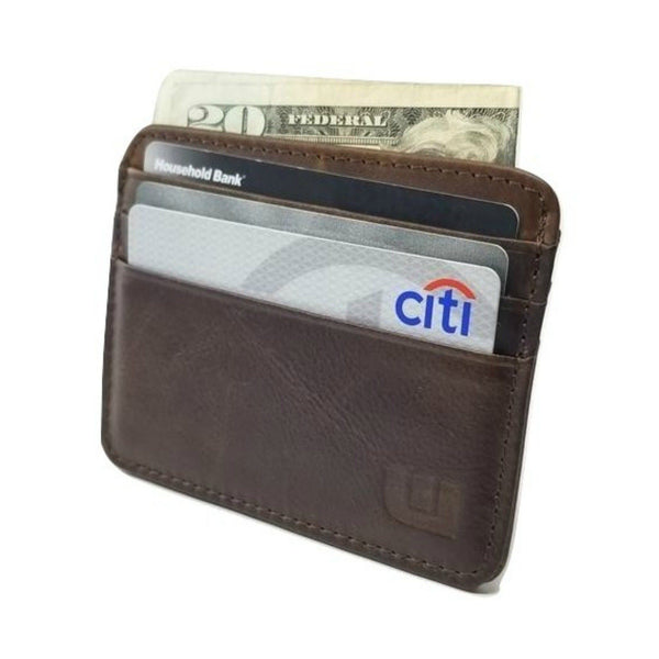 Thin  Minimalist Credit Card Holder / Front Pocket Wallet in Dark Brown  - Sette -walleteras