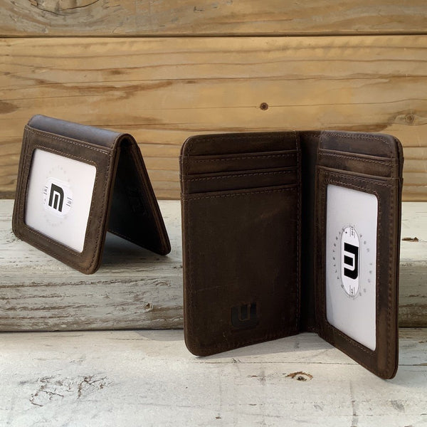 "Front Pocket Wallet with RFID in Crazy Horse Leather - Double Espresso 'T2"" RFID BiFold Front Pocket Wallet WALLETERAS"