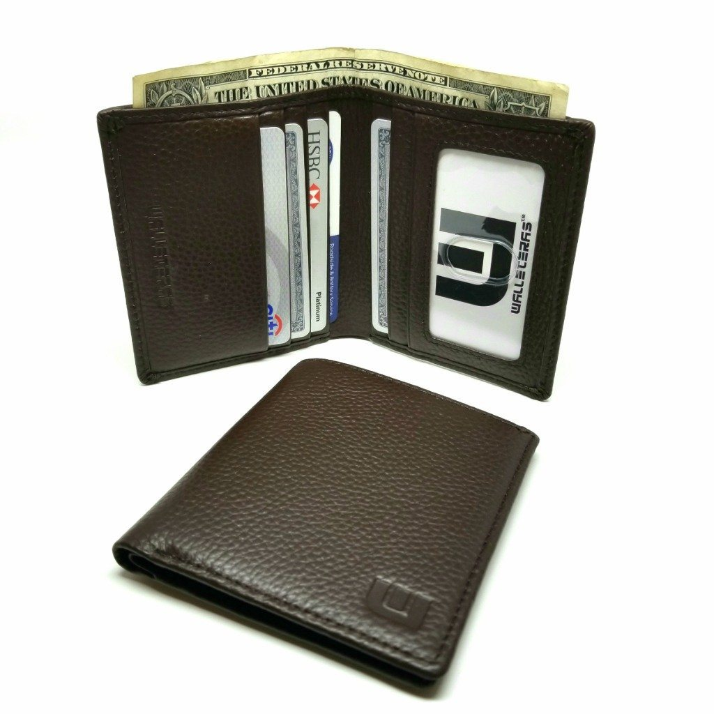 BiFold Pebble Leather Wallet with RFID Blocking in Dark Brown Bi-Fold wallet WALLETERAS