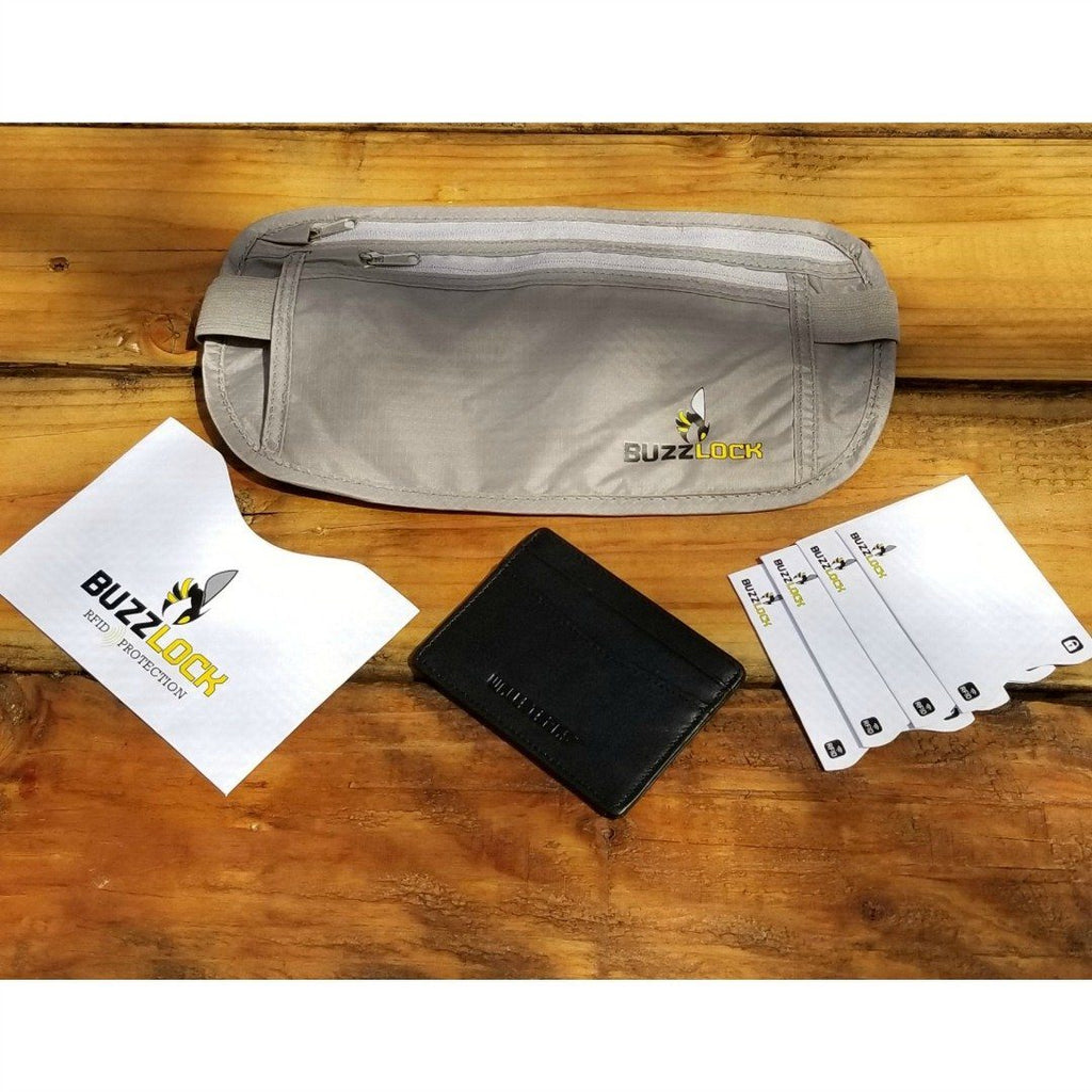WALLETERAS - RFID Travel Bundle - Money Belt and Front Pocket Wallet. WALLETERAS Black
