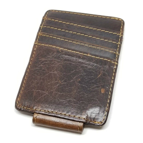 Vintage Look Crazy Horse Leather Money Clip with A Side Pocket -walleteras