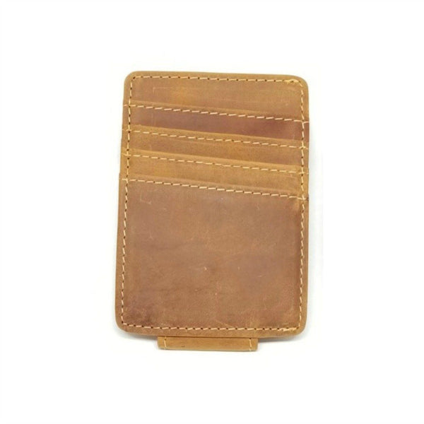 Vintage Look Crazy Horse Leather Money Clip with A Side Pocket Money Clip Walleteras Tan