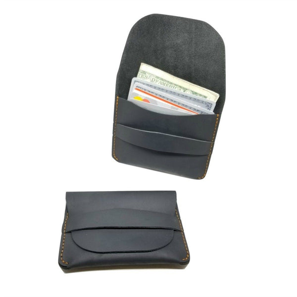 Minimalist Crazy Horse Leather Credit Card Holders Credit Card Holders WALLETERAS 109 black