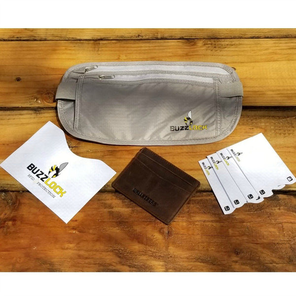 WALLETERAS - RFID Travel Bundle - Money Belt and Front Pocket Wallet. WALLETERAS Coffee