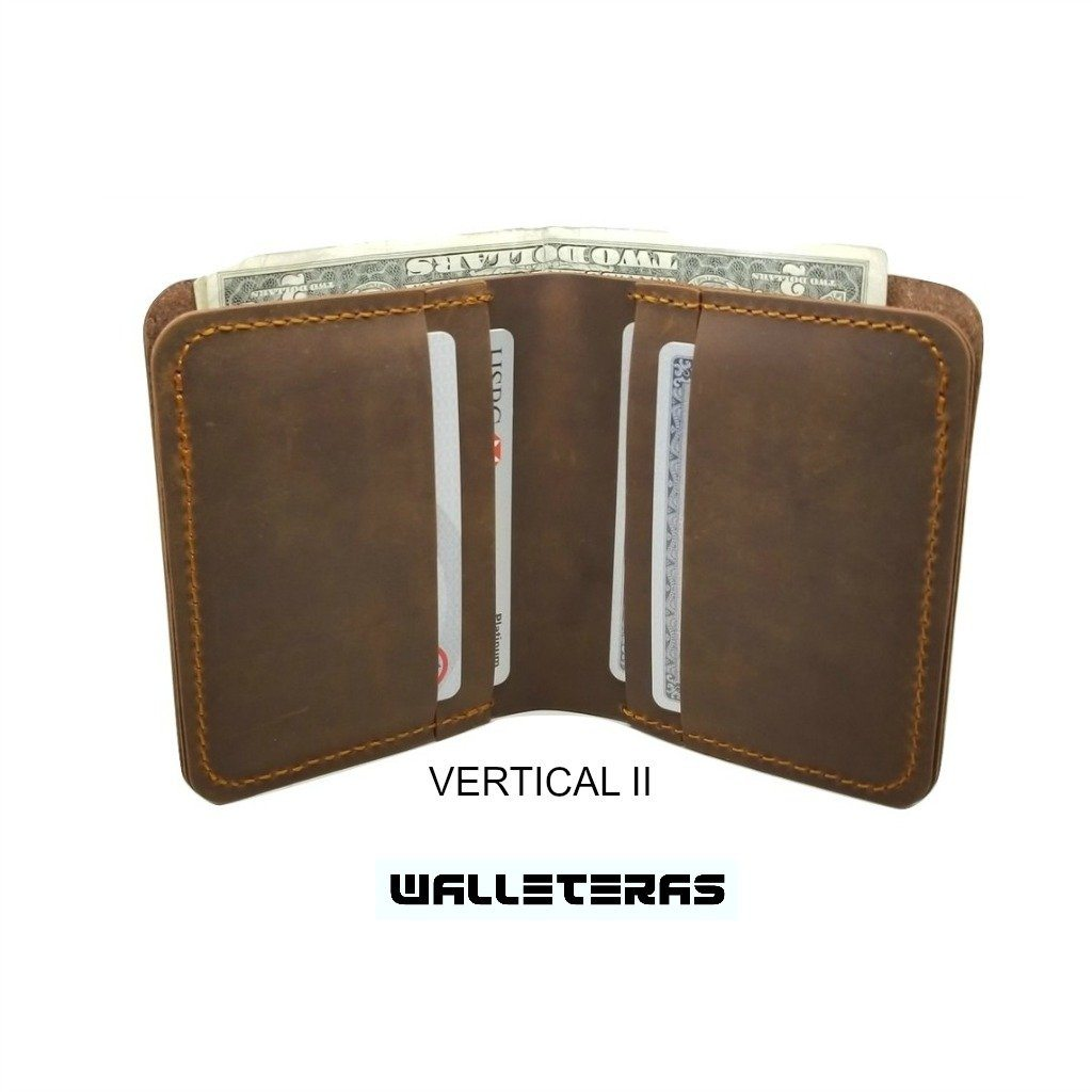 Brown Crazy Horse Leather Bifold Wallet - Cowboy wallets Bi-Fold wallet WALLETERAS Vertical II Coffee
