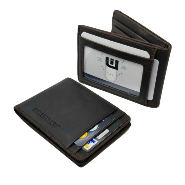 RFID Bifold Wallet With Money Clip in Crazy Horse Leather Bi-Fold Wallet WALLETERAS