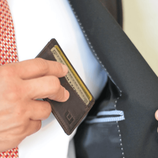 small card holder in suit pocket