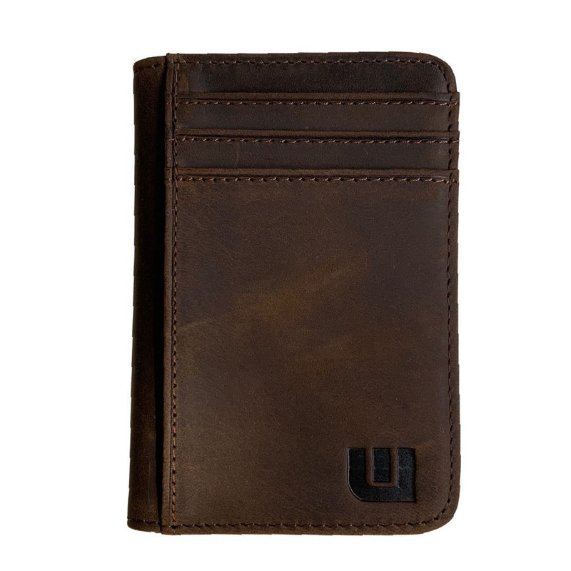 "Front Pocket Wallet with RFID in Crazy Horse Leather - Double Espresso 'T2"" RFID BiFold Front Pocket Wallet WALLETERAS T2-ID Coffee RFID"
