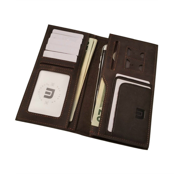 Long Wallet in Distressed Leather - Dark Brown Long wallets WALLETERAS