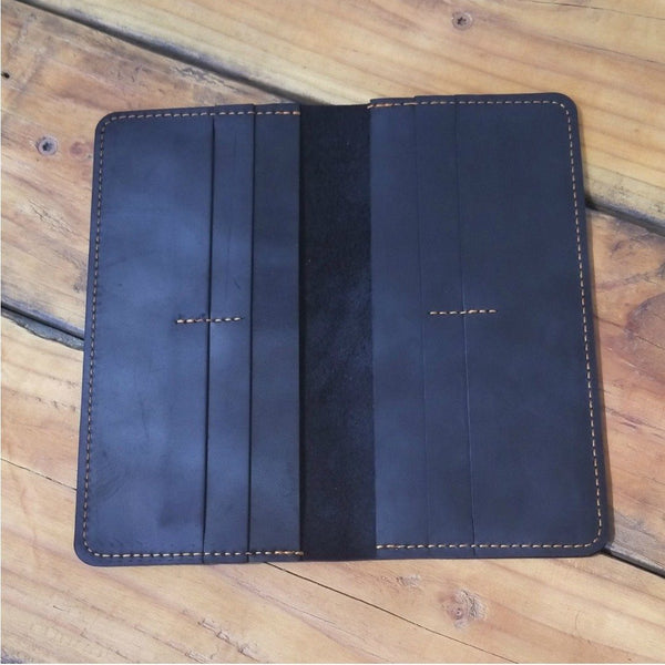 Hand Stitched Long Wallet in Crazy Horse Leather Long wallets WALLETERAS