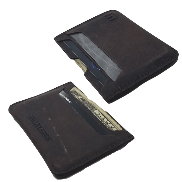 Minimalist Card Holder in Crazy Horse Leather - Solo Credit Card Holders WALLETERAS