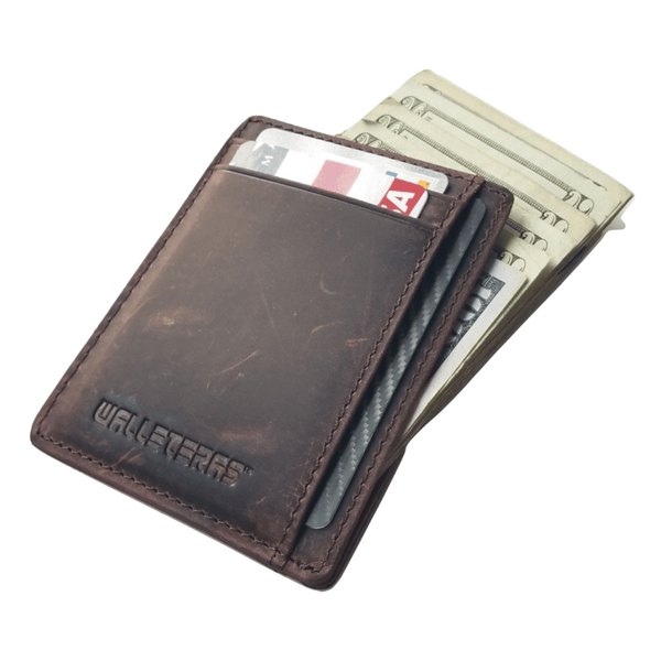 RFID Front Pocket Wallet and Card Holder with ID Window - DEC RFID BiFold Front Pocket Wallet WALLETERAS Coffee - Crazy Horse Leather S